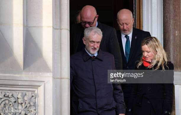 Labour leader Jeremy Corbyn leaves the Town Hall as he visits Middlesbrough Centre Square on January 25 2019 in Middlesbrough England The visit to...