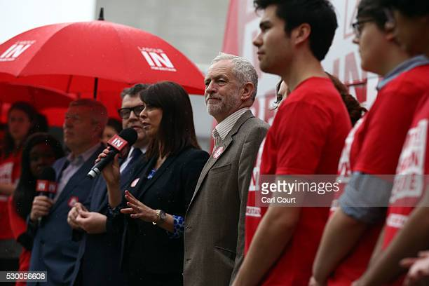 Labour leader Jeremy Corbyn listens as he is introduced by Gloria De Piero Shadow Minister for Young People and Voter Registration during the launch...