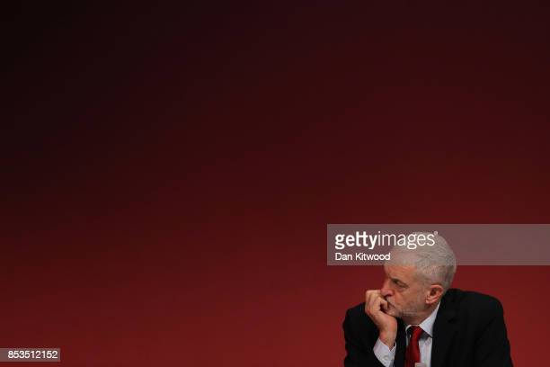 Labour Leader Jeremy Corbyn listens as Shadow First Secretary of State Emily Thornberry delivers her key note speech in the main hall during day two...