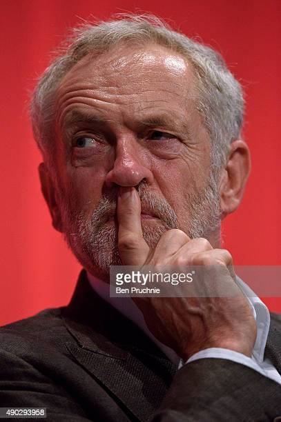 Labour Leader Jeremy Corbyn listens to a session entitled Better Politics at Every Level during the first day of the Labour Party Autumn Conference...