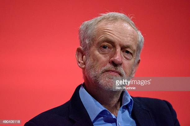 Labour Leader Jeremy Corbyn listens to a session entitled 'Britain and the World' during the second day of the Labour Party Autumn Conference on...
