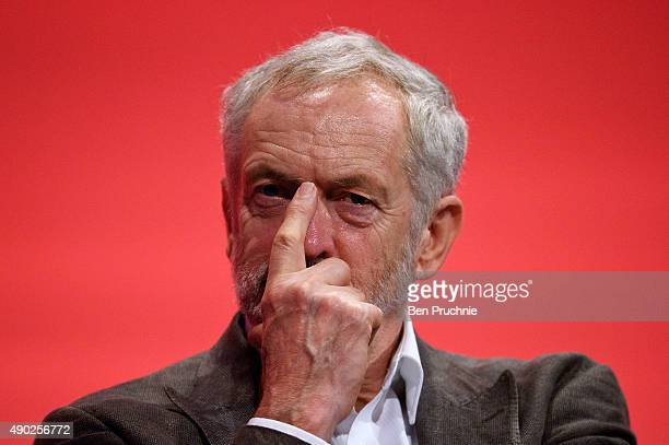 Labour Leader Jeremy Corbyn listens to a session entitled Rebuilding Our Party during the first day of the Labour Party Autumn Conference on...
