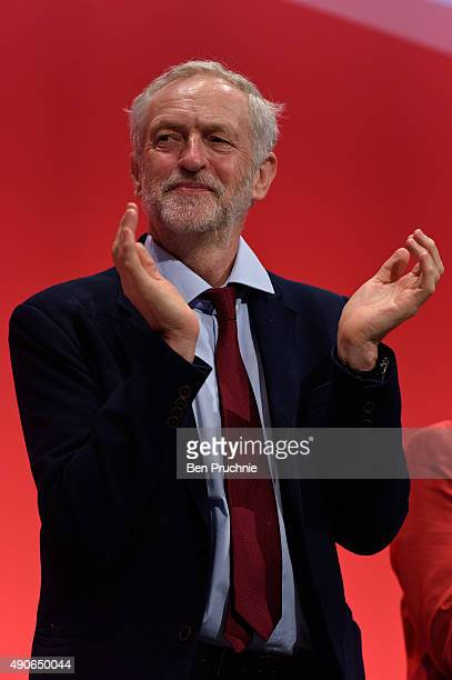 Labour Leader Jeremy Corbyn listens to Deputy Leader Tom Watson deliver his closing speech to delegates on the final day of The Labour Party Autumn...