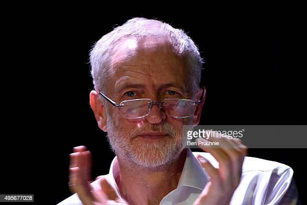 Labour Leader Jeremy Corbyn listens to speakers during a 'Refugees Welcome Here Rally' at The Camden Centre on November 4 2015 in London England...