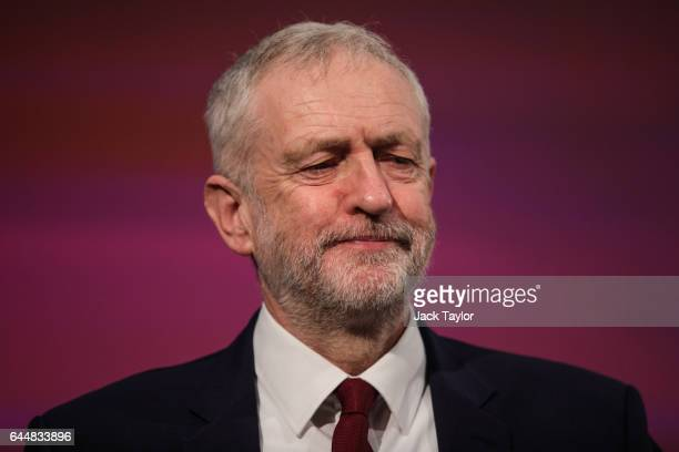 Labour Leader Jeremy Corbyn looks at the audience during a press conference on Brexit at 2 Savoy Place on February 24 2017 in London England The...