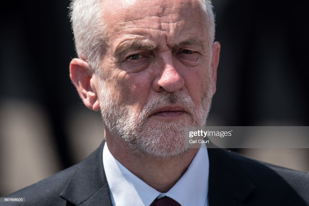 Labour leader Jeremy Corbyn looks on as community and religious leaders speak at the scene of a terror attack in Finsbury Park in the early hours of this morning, on June 19, 2017 in London, England. Worshippers were struck by a hired van as they were leaving Finsbury Park mosque in North London after Ramadan prayers. One person was killed in the terror attack with a further 10 people injured.