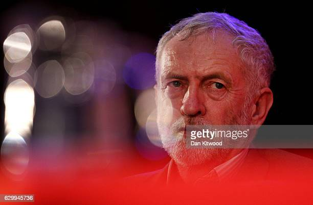 Labour Leader Jeremy Corbyn looks on during a rally at the Emmanuel Centre on December 15 2016 in London England Mr Corbyn was joined by several...