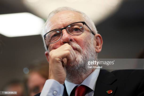 Labour leader Jeremy Corbyn looks on prior to delivering a Brexit speech to the audience at the Harlow Hotel on November 5 2019 in Harlow England