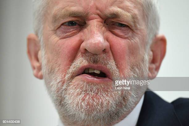 Labour leader Jeremy Corbyn makes a keynote speech as he sets out Labour's position on Brexit at the National Transport Design Centre on February 26...