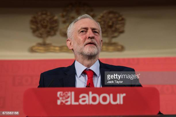 Labour Leader Jeremy Corbyn makes his first campaign speech of the 2017 general election at Assembly Hall in Westminster on April 20 2017 in London...