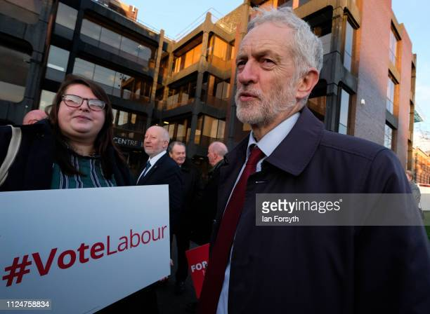 Labour leader Jeremy Corbyn meets party supporters as he visits Middlesbrough Centre Square on January 25 2019 in Middlesbrough England The visit to...