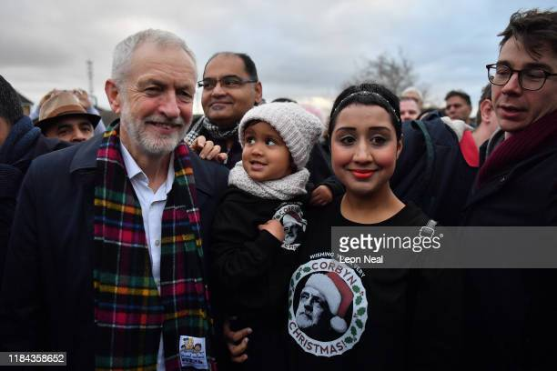 Labour leader Jeremy Corbyn meets people as he campaigns in Thurrock on November 24, 2019 in Thurrock, England.