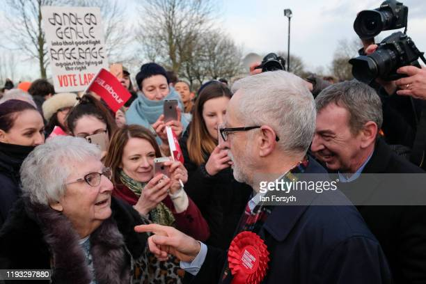 Labour leader Jeremy Corbyn meets supporters after speaking at a stump speech at the Sporting Lodge Inn on December 11 2019 in Middlesbrough England...