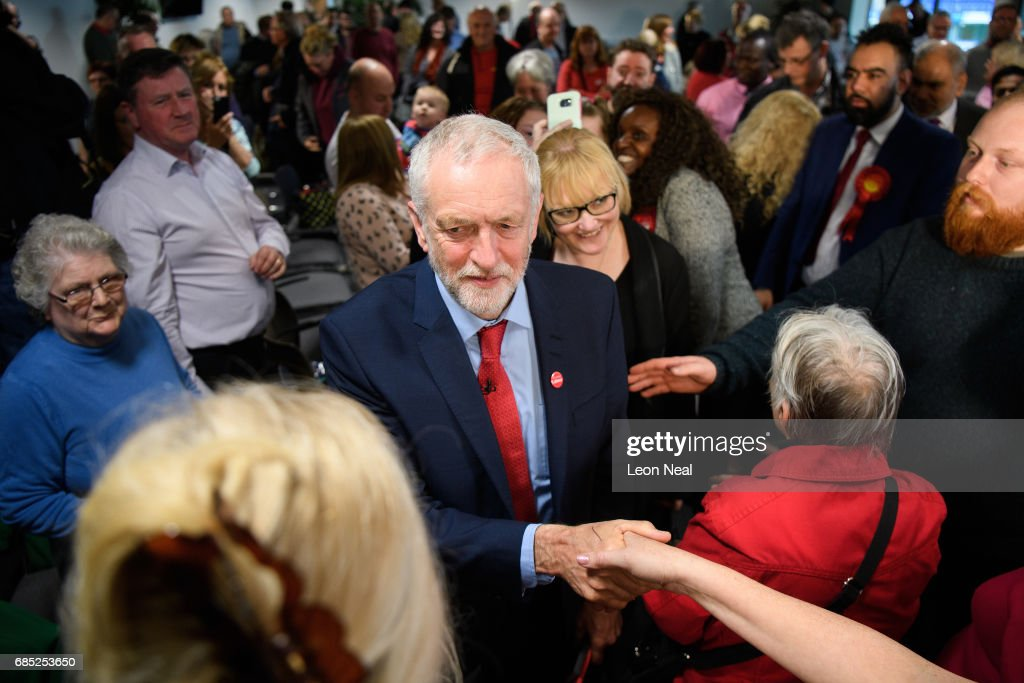 Labour leader Jeremy Corbyn meets supporters following a speech on May 19, 2017 in Peterborough, England. Britain goes to the polls on June 8 to elect a new parliament in a general election.