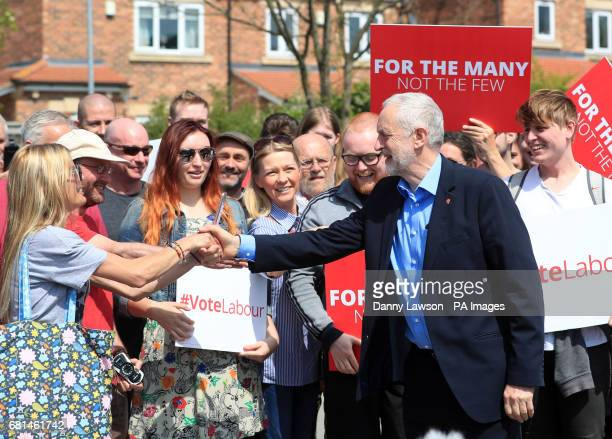 Labour leader Jeremy Corbyn meets supporters on the general election campaign trail at Garforth Leisure Centre Leeds