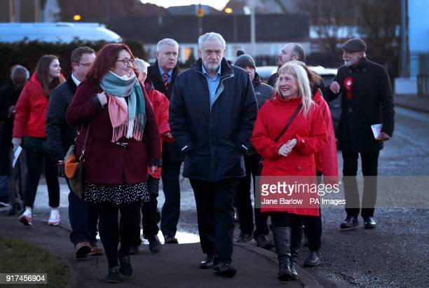 Labour leader Jeremy Corbyn meets with local party supporters and residents during a walkabout in Penicuik Midlothian before speaking at a campaign...