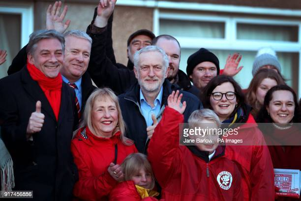 Labour leader Jeremy Corbyn meets with local party supporters and residents in Penicuik Midlothian before speaking at a campaign rally at the town's...