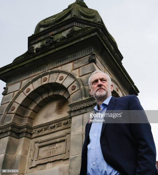 Labour leader Jeremy Corbyn pauses as he walks through Stockton high street on March 31 2017 in Middlesbrough England During the visit he was also...