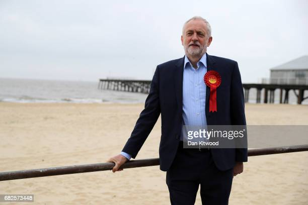 Labour Leader Jeremy Corbyn poses by the beach on May 2017 in Lowestoft England Jeremy Corbyn took his campaign bus to Lowestoft to meet Sonia Barker...