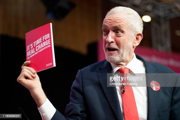 Labour leader Jeremy Corbyn poses during the launch of the party's election manifesto at Birmingham City University on November 21 2019 in Birmingham...