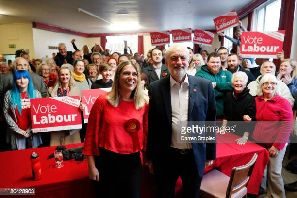Labour leader Jeremy Corbyn poses for a photo with Labour candidate for Crewe and Nantwich Laura Smith during a visit to Crosville Social Club whilst...