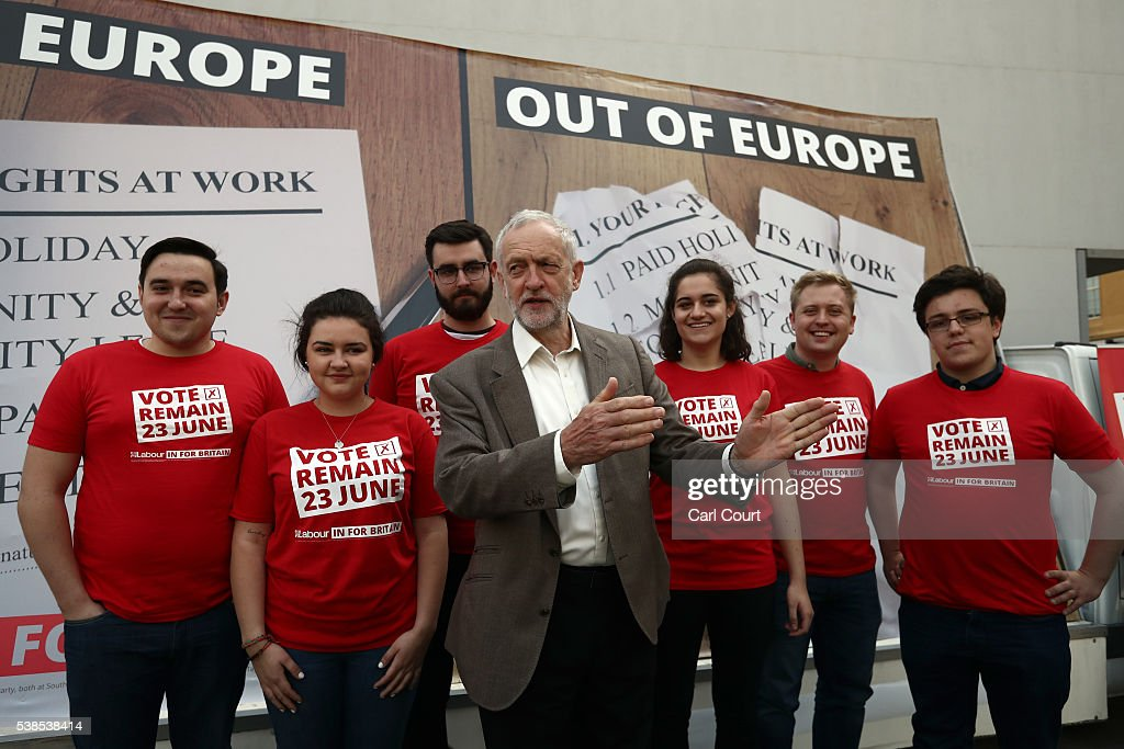 Labour leader, Jeremy Corbyn, poses for photographs during an event to unveil a new poster from the Labour In for Britain campaign to 'Remain' in the EU on June 7, 2016 in London, England. Campaigning continues by both sides ahead of the EU referendum on June 23rd.