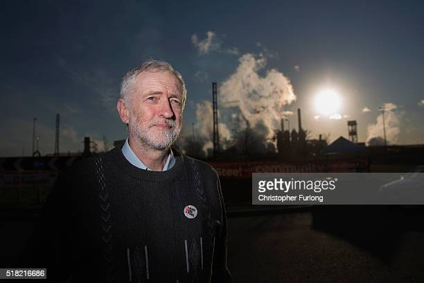 Labour leader Jeremy Corbyn poses for the media outside the Tata Steel plant on March 30 2016 in Port Talbot Wales Indian owners Tata Steel put its...