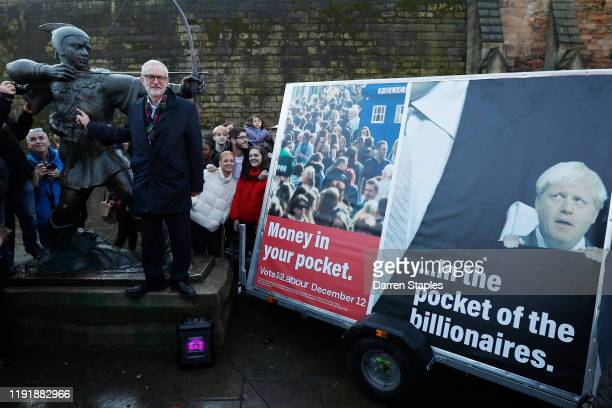 Labour Leader Jeremy Corbyn poses next to the Robin Hood statue during a General Election advertisement launch on December 04 2019 in Nottingham...