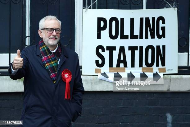 Labour leader Jeremy Corbyn poses outside the polling station at Pakeman Primary School, Holloway on December 12, 2019 in London, England. The...