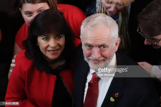 Labour leader Jeremy Corbyn poses with his wife Laura Álvarez after giving his election campaign speech on October 31 2019 in Battersea England...