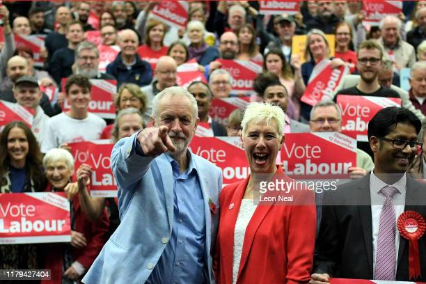 Labour leader Jeremy Corbyn poses with prospective parliamentary candidate for North Swindon Kate Linnegar and delegates during an election campaign...