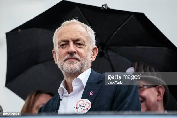 Labour Leader Jeremy Corbyn prepares to address the crowd during a rally by members of the National Education Union in Parliament Square on October...
