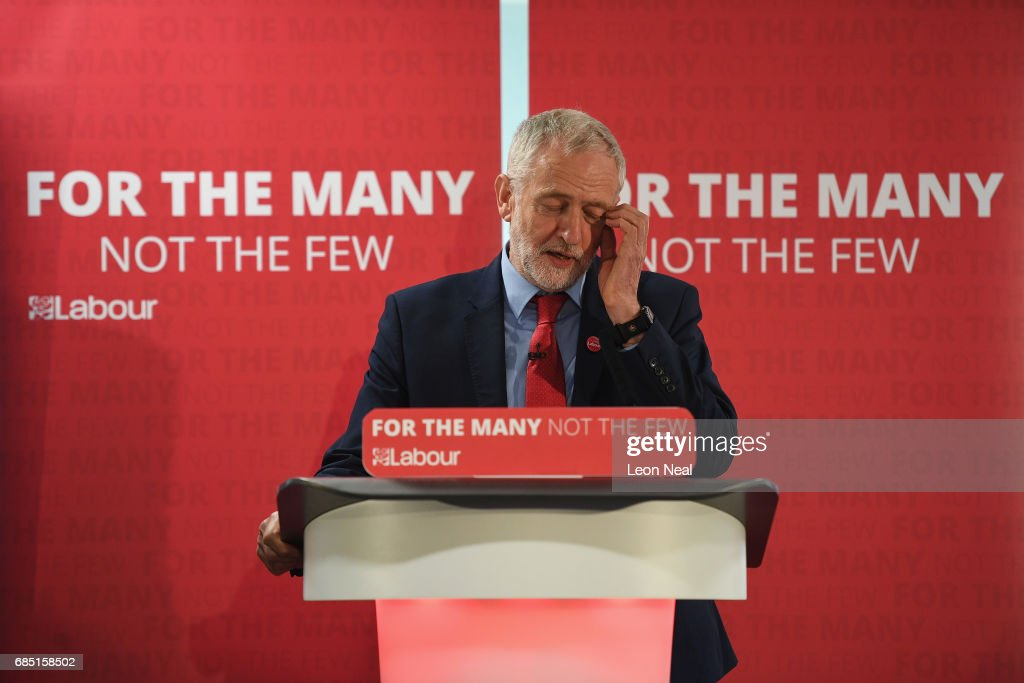 Labour leader Jeremy Corbyn reacts as he speaks on May 19, 2017 in Peterborough, England. Britain goes to the polls on June 8 to elect a new parliament in a general election.
