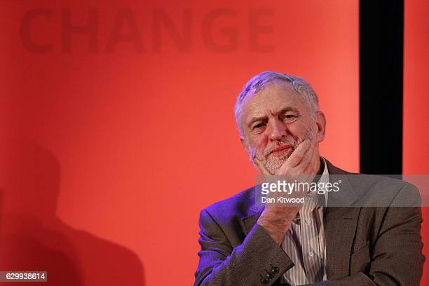 Labour Leader Jeremy Corbyn reacts during a rally at the Emmanuel Centre on December 15 2016 in London England Mr Corbyn was joined by several...