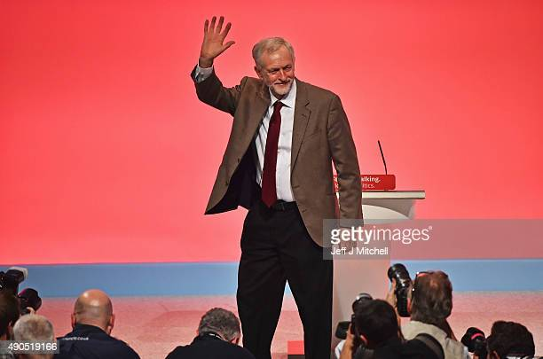 Labour leader Jeremy Corbyn receives applause following his first leaderships speech on September 29 2015 in Brighton England The four day annual...