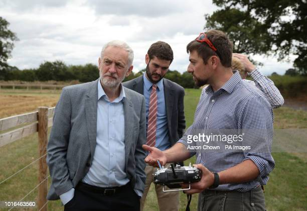 Labour leader Jeremy Corbyn sees how Hands Free Hectare an autonomous harvester is controlled during his visit to Harper Adams University Newport...