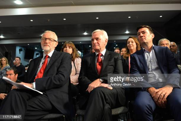 Labour leader Jeremy Corbyn Shadow Chancellor John McDonnell and Mayor of Manchester Andy Burnham attend a rally ahead of a shadow cabinet meeting on...