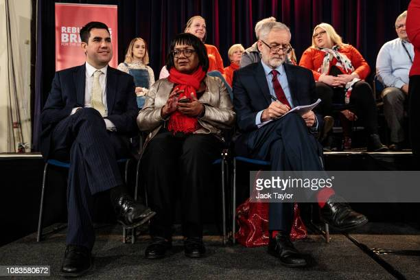 Labour Leader Jeremy Corbyn sits next to Shadow Home Secretary Diane Abbott Shadow Justice Secretary Richard Burgon ahead of a speech at a rally at...
