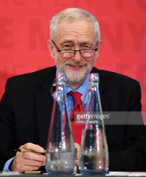 Labour leader Jeremy Corbyn smiles as he gives a speech at Church House in Westminster on May 31 2017 in London England A new poll suggests Britain...