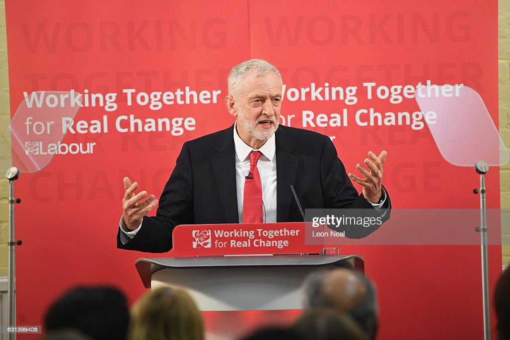 Labour Leader Jeremy Corbyn speaks about Labour's plan for Brexit on January 10, 2017 in Peterborough, England. The Labour Leader delivered a speech outlining his party's plan for Brexit and their vision for Britain. In earlier media interviews he said the party were considering a wage cap to reduce inequality.