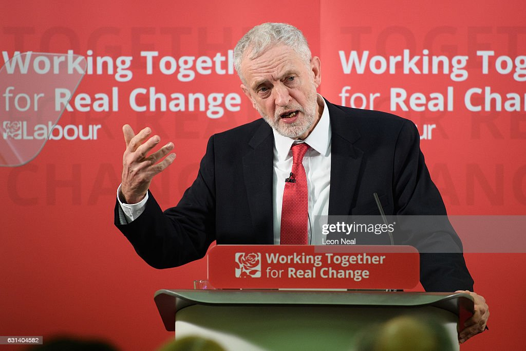 Labour Leader Jeremy Corbyn speaks about Labour's plan for Brexit on January 10, 2017 in Peterborough, England. The Labour Leader delivered a speech outlining his partys plan for Brexit and their vision for Britain. In earlier media interviews he said the party were considering a wage cap to reduce inequality.