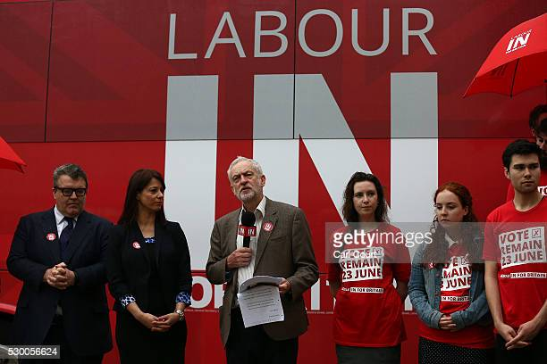 Labour leader Jeremy Corbyn speaks as he launches the Labour In for Britain EU campaign battle bus with Gloria De Piero Shadow Minister for Young...