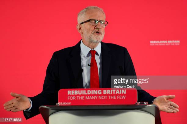 Labour leader Jeremy Corbyn speaks at a rally ahead of a shadow cabinet meeting on September 02 2019 in Salford England The Labour leader is making a...