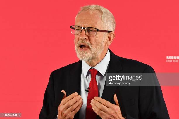 Labour leader Jeremy Corbyn speaks during a rally ahead of a shadow cabinet meeting on September 02 2019 in Salford England The Labour leader is...