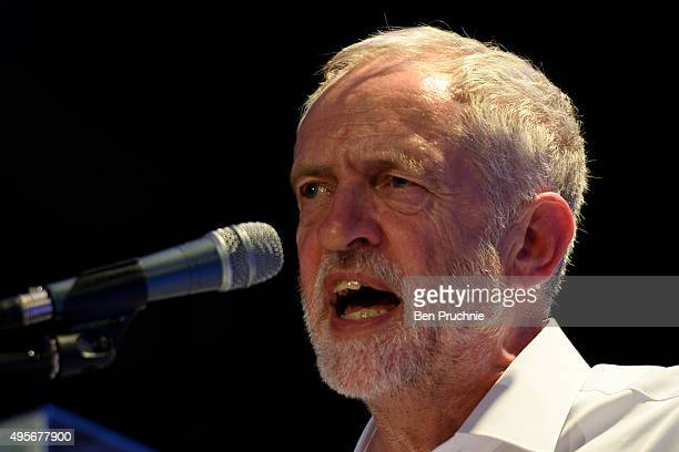 Labour Leader Jeremy Corbyn speaks during a 'Refugees Welcome Here Rally' at The Camden Centre on November 4 2015 in London England Speaking at a...