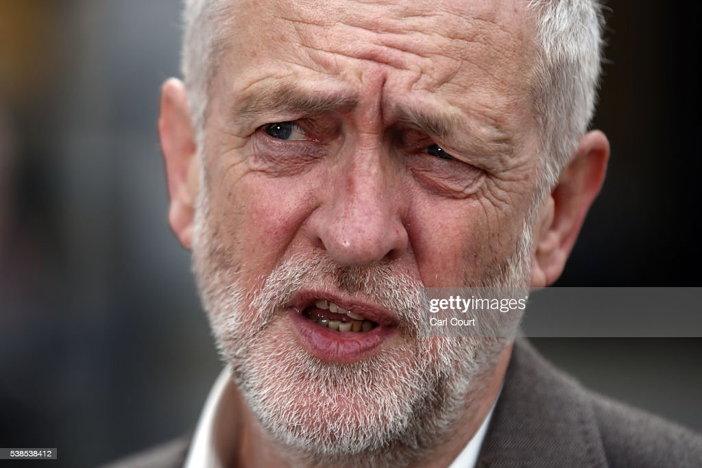 Labour leader, Jeremy Corbyn, speaks during an event to unveil a new poster from the Labour In for Britain campaign to 'Remain' in the EU on June 7, 2016 in London, England. Campaigning continues by both sides ahead of the EU referendum on June 23rd.