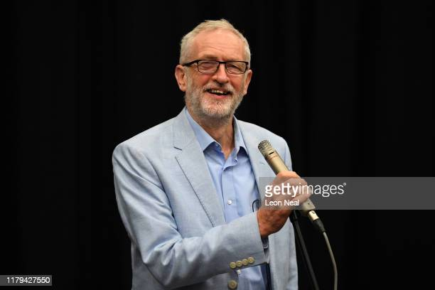 Labour leader Jeremy Corbyn speaks during at an election campaign at Commonweal school on November 2 2019 in Swindon England