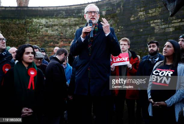 Labour Leader Jeremy Corbyn speaks next to the Robin Hood statue during a General Election advertisement launch on December 04, 2019 in Nottingham,...