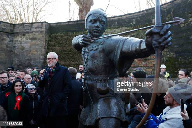 Labour Leader Jeremy Corbyn speaks next to the Robin Hood statue during a General Election advertisement launch on December 04 2019 in Nottingham...