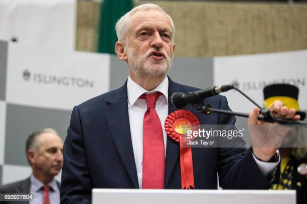 Labour Leader Jeremy Corbyn speaks on stage following his win at the Sobell Leisure Centre during the Islington North declaration on June 9 2017 in...